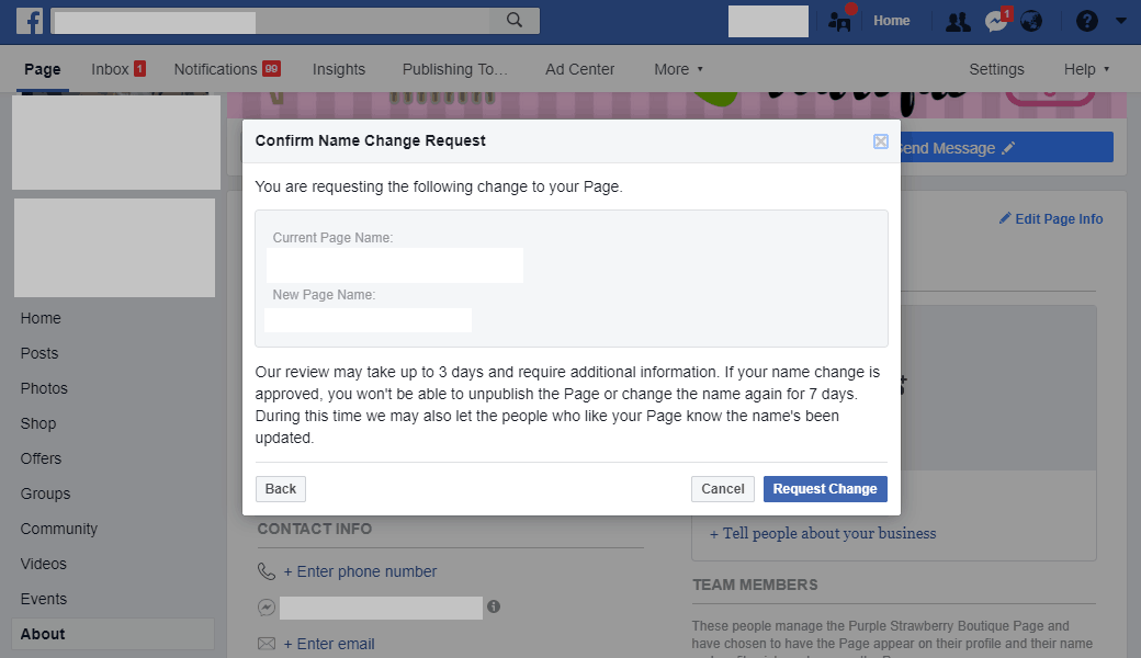 change Facebook page name step 3
